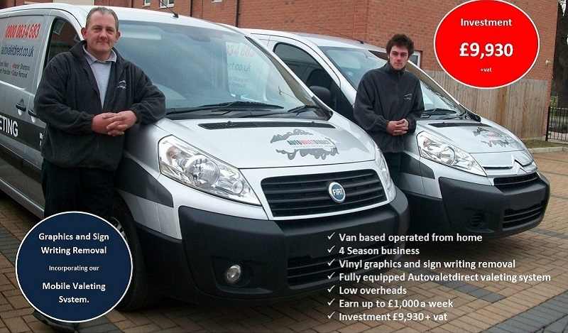 Two Autovaletdirect franchisees standing in front of their vans