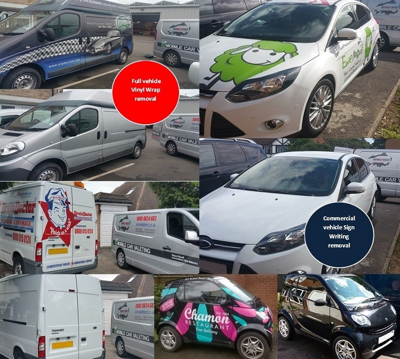 collage of autovaletdirect customers whos vehicles have had vinyl wraps removed