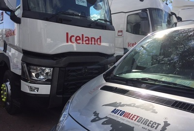 An Iceland branded truck next to an Autovaletdirect van