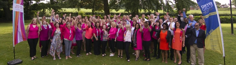 Bright and Beautiful staff having a team photo outside