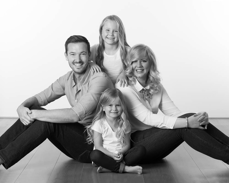 greyscale contemporary family portrait