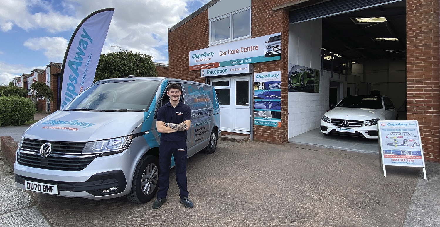 Chipsaway franchisee brandon outside car care centre with van
