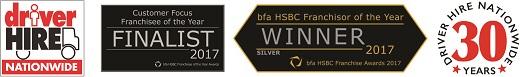 Driver Hire franchise award logos