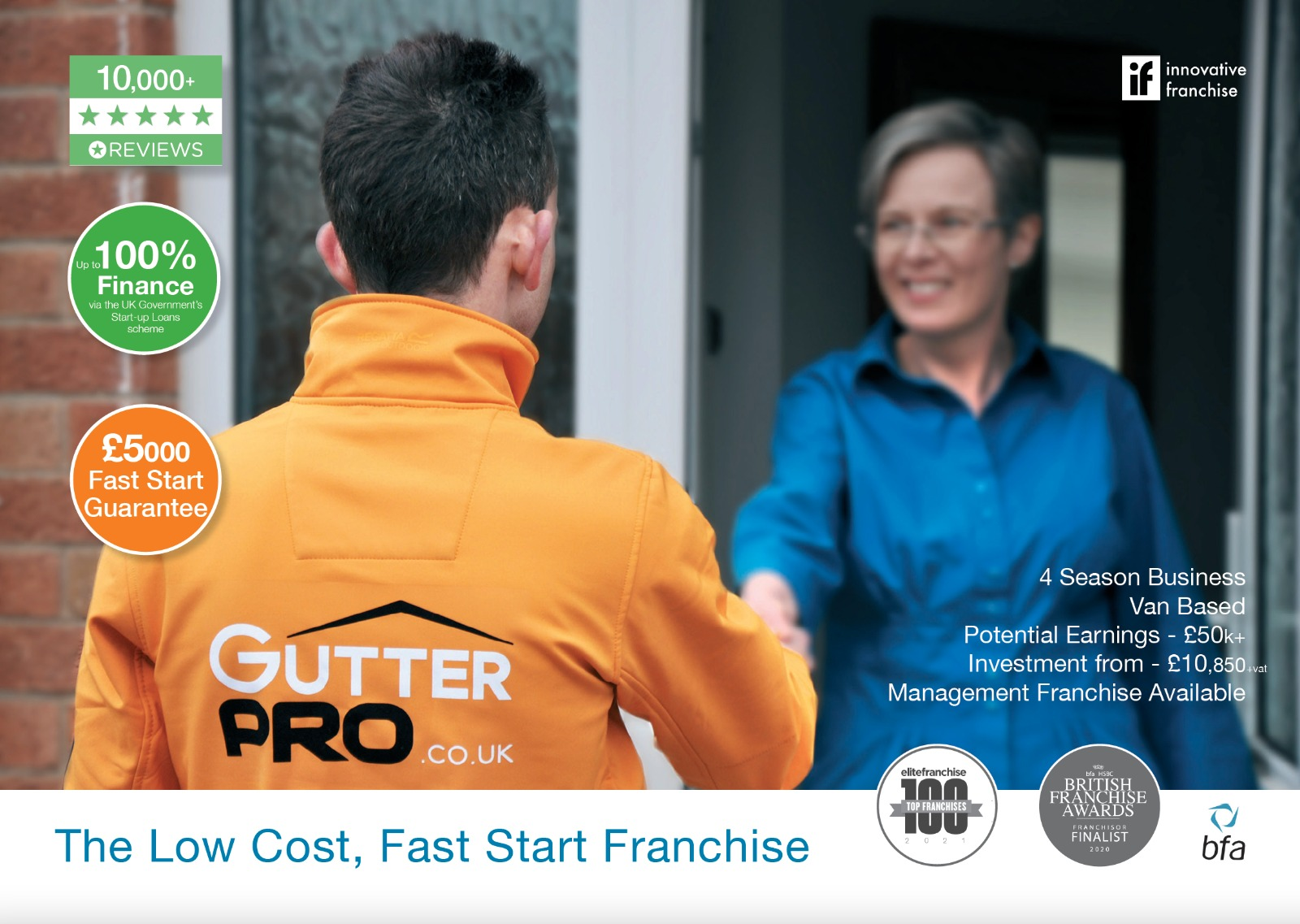 GutterPRO franchise greeting a customer at their front door