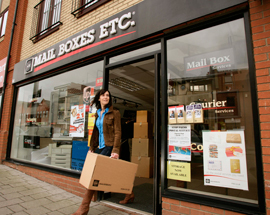 Mail Boxes Etc courier franchise business opportunity delivery postal copy