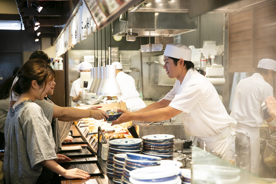 Marugame Udon dishes getting served from the kitchen