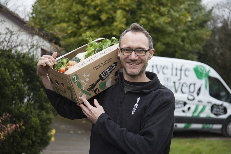 Riverford franchisee delivering their vegetable box to a client