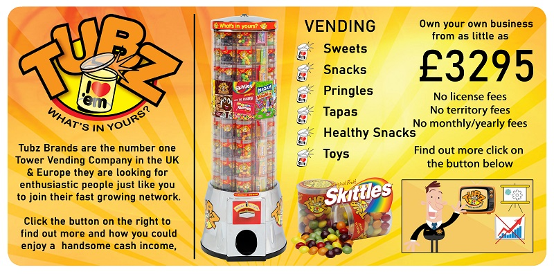 Tubz products and tower vending stands