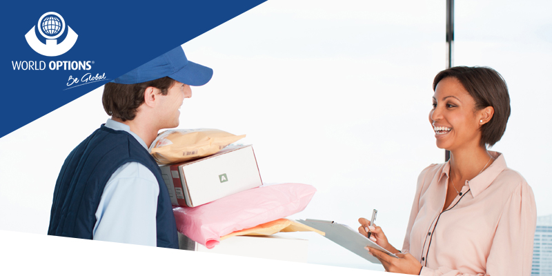 world options customer collecting parcels from delivery man