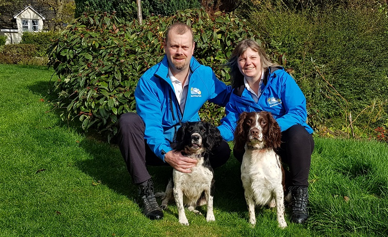 Barking Mad franchisees with their pet dog
