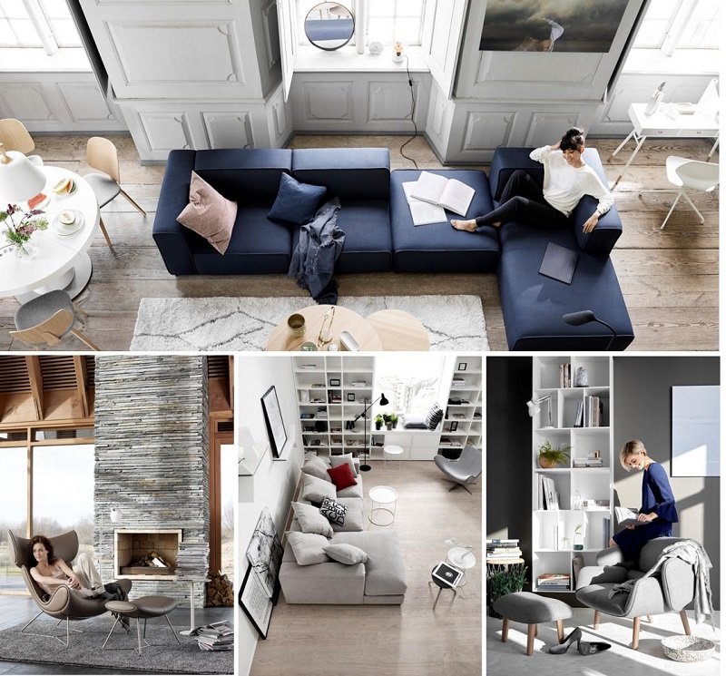 A collage of BoConcept furniture in homes