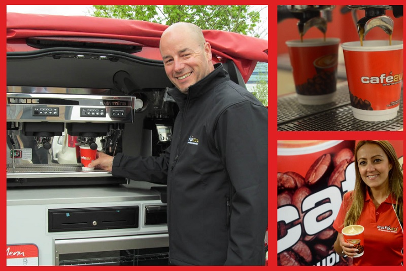 Cafe2U franchisee serving coffee from his van