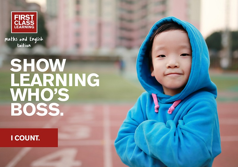 first class learning show learning who's boss slogan next to child