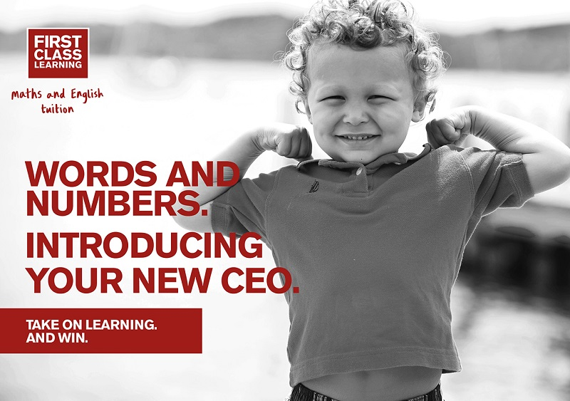 first class learning introducing new ceo slogan next to child
