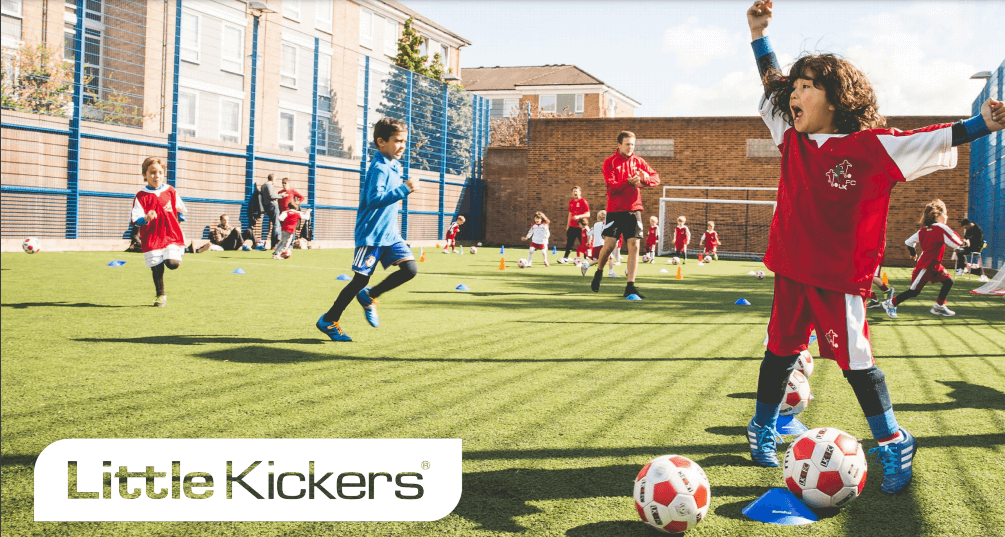 kids playing in a little kickers class