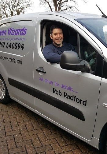 Oven Wizards franchisee Rob Radford in his van