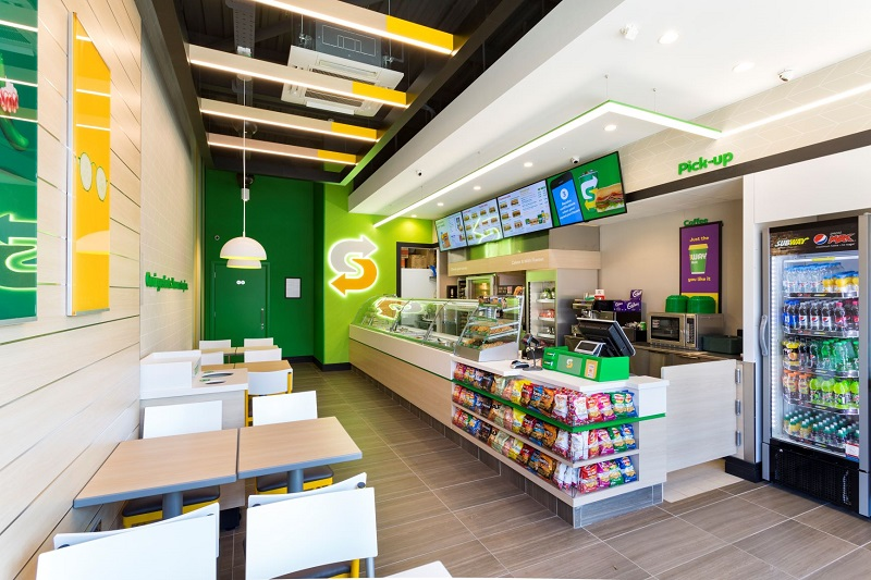 Internal photo of a Subway store